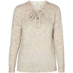 Dorothy Perkins **Only lace up front jumper (79 CAD) ❤ liked on Polyvore featuring tops, sweaters, beige, laced tops, pink top, pink jumper, beige sweater and dorothy perkins