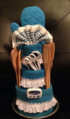 Dish towel cake Bridal Shower Decorations, Bridal Shower Gifts, Bridal Showers, Baby Shower Gifts, Dish Towel Cakes, Kitchen Towel Cakes, Bath Gift Basket, Gift Baskets, Spa Cake