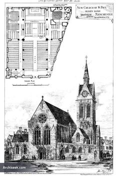 Grace church blueprint art print by daniel hagerman churches pauls church oldham road manchester lancashire architecture of lancashire archiseek irish architecture malvernweather Image collections