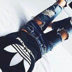 #adidas trefoil top + ripped denim