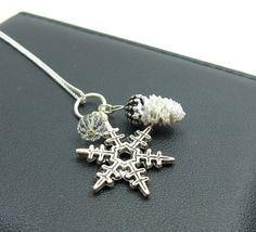 Snowflake Pine Cone Charm Necklace