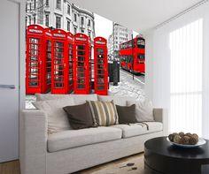 Fotomurales London in Red. Ideas decoración academia de inglés #decoración #academia #inglés #ideas #vinilo #TeleAdhesivo