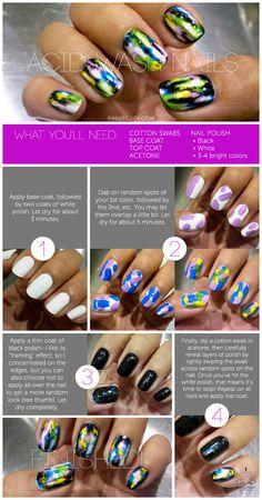 acid wash nails tutorial - these look hot! Nail Polish Style, Cute Nail Polish, Cute Nails, Fabulous Nails, Gorgeous Nails, Happy Nails, Bright Nails, Nail Shop, Creative Nails