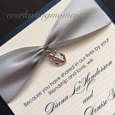 Nautical Wedding Invitation with charm, Navy Seal, United States Navy, anchor, navy blue