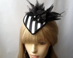 Steampunk Extravagant fascinator black and white striped Headpieces