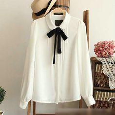 Fashion female elegant bow tie white blouses Chiffon peter pan collar casual shirt Ladies tops school blouse Women Plus Size