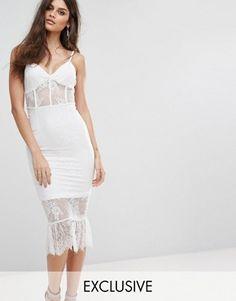 NaaNaa Corset Detail Midi Dress in Lace with Pephem