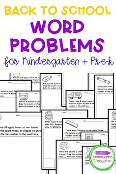Back to school is here and if you're looking for learning activities for Kindergarten or Pre-k, check out these fun and interactive word problem printables. They're low prep and come in black and white making them an easy addition to your Kindergarten lesson plan this fall! They're also back to school and Fall themed so perfect for the start of the school year! #backtoschool #kindergarten #prek #earlychildhoodeducation