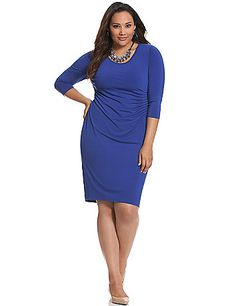 Lined from high waist through the hip with hidden Control Tech panels to slim, smooth and contour curves, this confidence-boosting dress highlights all your positives.  A flattering number for any occasion with 3/4 sleeves, scoop neck and pleated side detail. Pull-on style. lanebryant.com