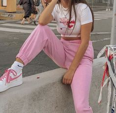 Pink aesthetic outfit fashion cute white embroidered embroidery Nike's high waist high waist trousers pants sweatpants goals egirl soft girl aesthetic fashion 'Sugar & spice' short sleeve crop top – Shop TMP Pink Outfits, Mode Outfits, Retro Outfits, Cute Casual Outfits, Vintage Outfits, Fashion Outfits, Pink Pants Outfit, Summer Outfits, Blue Pants