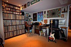 Vinyl Record Shop, Vinyl Record Storage, Record Rack, Vinyl Records, Music Studio Room, Home Studio, Cd Storage, Media Storage, Band Rooms