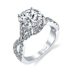 Solitaire Twisted Shank Wedding Band Set