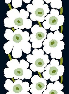 The Unikko cotton sateen fabric in black with white flowers is designed by Maija Isola for Marimekko. Suits perfect as a wall candy art, table cloth or curtains. Design Textile, Textile Patterns, Print Patterns, Floral Patterns, Marimekko Fabric, Marimekko Wallpaper, Marimekko Dress, Scandinavian Fabric, Poppy Pattern
