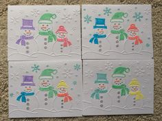Just use this embossing folder from Darice and color as you like! Unique Christmas Cards, Xmas Cards, Handmade Christmas, Holiday Cards, Greeting Cards, Crafters Companion Christmas Cards, Stampin Up, Scrapbook Expo, Snowman Cards
