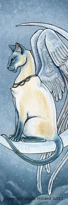 "'Twilight' Blue Siamese Celestial Angel Fairy Cat 2""x6"" Gothic Fantasy Bookmark"