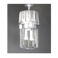 Industrial Ceiling Light with Caged Glass