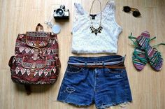 Aztec Bag, High Waisters, White Cut-Off Tank Sunglasses