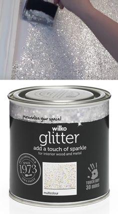 Sparkly Glitter Paint jetzt für £ 9 @ Wilko erhältlich - Dekoration 2019 Freie - New Ideas Decoration Bedroom, Diy Home Decor, Room Decorations, Tinta Glitter, Girl Room, Girls Bedroom, Bedroom Art, Trendy Bedroom, Childs Bedroom