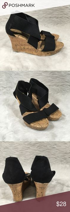 SEYCHELLES Black Stretch Cross Cork Platform Womens SEYCHELLES Black Stretch Cross Strap Cork Platform Wedge Sandals Sz 8.5  Size- 8.5  Condition-Minimal signs of wear, see pictures. Seychelles Shoes Wedges