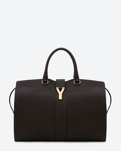 Large Cabas Y in Black Leather