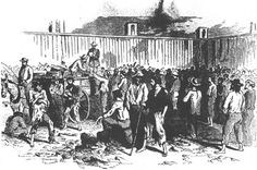 A sketch of prisoners receiving rations. From Life and Death in Rebel Prisons, by Robert H. Kellogg, 1866.