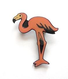 VINTAGE 80'S PINK BLACK LUCITE FLAMINGO BIRD BROOCH - NAUTICAL