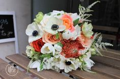 Delicate and feminine, a special bridal bouquet with a touch of red and living coral. Bridal Bouquet Coral, Live Coral, Summer Wedding, Floral Wreath, Wedding Decorations, Delicate, Feminine, Wreaths, Touch