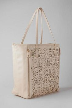 Jemma Perforated Tote in Ivory - Francescas