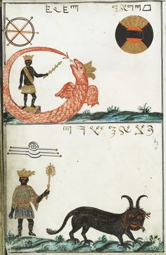 Cyprianus, Uricus and Paymon, illustration from a late 18th century book about magic, the Clavis Inferni sive magia alba et nigra approbata Metratona by M. L. Cyprianus.