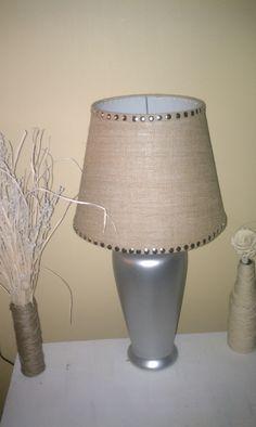 "Added thumbtacks to my burlap lamp shade (cost less than $1)....love the ""nail head"" look!!"