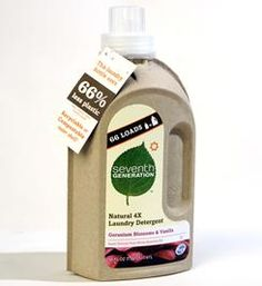 Liquid Laundry Detergent in a Cardboard Bottle by Seventh Generation: Hurrah! #Detergent #Packaging #Green