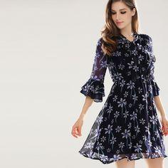 SheBlingBling Plus Size Women High Waist Chiffon Dress Fashion Calico Print  Flare Sleeve Tie Neck Ruffle 04780c5c66dc