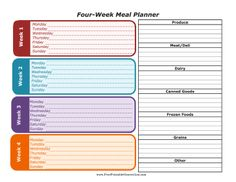 This Monthly Menu Planner Has Four Weeks Of Meals And Sections For