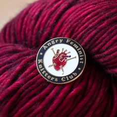 Angry Feminist Knitters Club Enamel Lapel Pin at Bombasine
