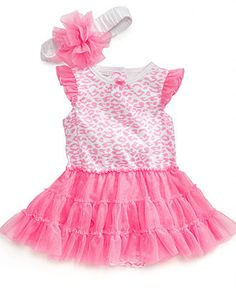 First Impressions Baby Set, Baby Girls Leopard Tulle Bodysuit and Headband Set - Kids Baby Girl (0-24 months) - Macys