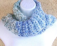 Outlander-inspired Cowl, chunky crocheted in Frosted Blues double-thick acrylic yarn Outlander, Handicraft, Cowl, Blues, Inspired, Crochet, How To Wear, Inspiration, Craft