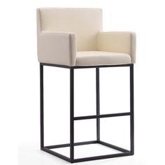 Latitude Run Hamlet Bar & Counter Stool Color: Cream, Seat Height: Bar Stool Seat Height) White Counter Stools, Bar Counter, Bar Stools, Foot Rest, Runes, All Modern, Decor Styles, Modern Furniture, Upholstery