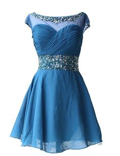 Charming PROM Dress Chiffon EVENING Dress O-Neck PARTY Dress Short Noble Homecoming Dress