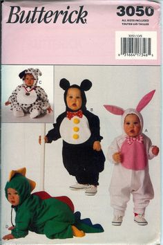 who can resist a baby animal? Butterick Baby Toddler Animal Costume Pattern 3050 UNCUT FF Dragon Bunny Penguin