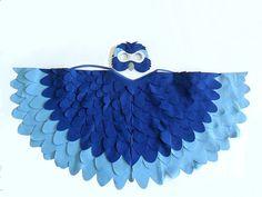 Children Bird Costume Blue Arara Wings and Mask Kid by BHBKidstyle, €60.00