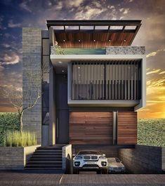 Modern Villa Design, Modern Exterior House Designs, House Paint Exterior, Dream House Exterior, Exterior Design, Townhouse Designs, Duplex House Design, House Front Design, Modern House Facades