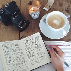A cup of coffee, a notebook, a camera and a little candle, this is perfect!! I love it