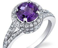 Round Amethyst 925 Silver Ring ►► http://www.gemstoneslist.com/jewelry/silver-amethyst-rings.html?i=p