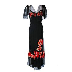 """1930's """"Woodward & Lothrop"""" designer Red-Poppies Floral Applique Silk Tulle Illusion Flutter-Sleeve Gown"""