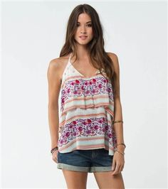 O'Neill Dale Top. 100% Rayon. Woven halter top with loose tier at bodice and metal