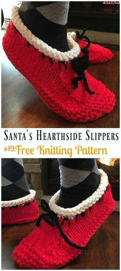 Knit Adult Slippers & Boots Free Patterns: Girls Slipper Shoes, Women Boots, Men Slippers, Home Slippers Free Knitting Patterns. Christmas Knitting Patterns, Knitting Patterns Free, Free Knitting, Baby Knitting, Crochet Christmas, Knit Slippers Free Pattern, Knitted Slippers, Loom Knitting, Knitting Socks