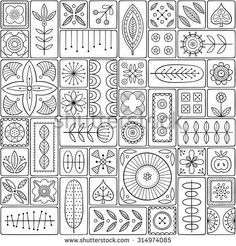 Scandinavian design tiles with floral abstractions Patterns and ornaments with Scandinavian motifs within the rectangular frames Linear style illustration Monochrome seamless background