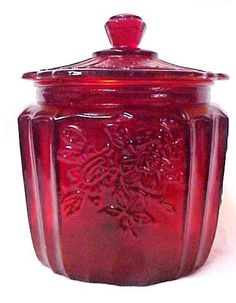 Red Mayfair Depression Glass Cookie Biscuit Jar New | eBay