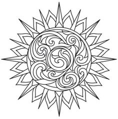 Coloring Page World: Baroque Natura - Sun