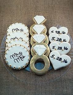 Wedding Custom Sugar Cookies, hearts with date, diamond ring, Mr and Mrs